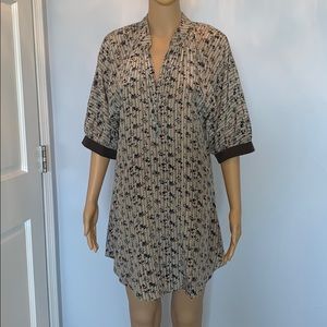 100% silk casual tunic dress
